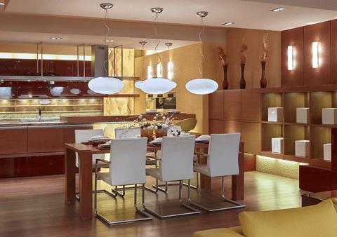 Moderní interiér z dubu ve vysokém lesku