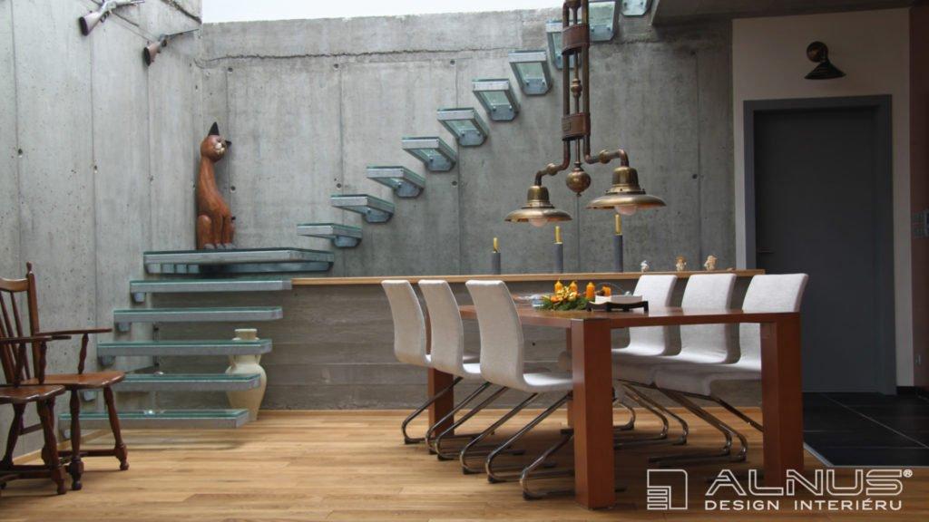 jídelna v minimalistickém designu interiéru domu