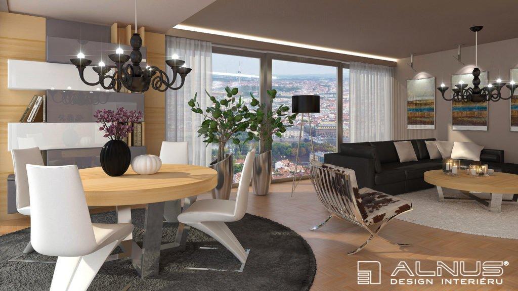 interiér bytu obývacího pokoje s jídelnou