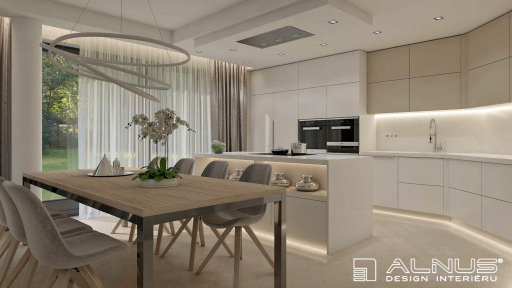 moderní kuchyně s jídelnou ve světlých odstínech
