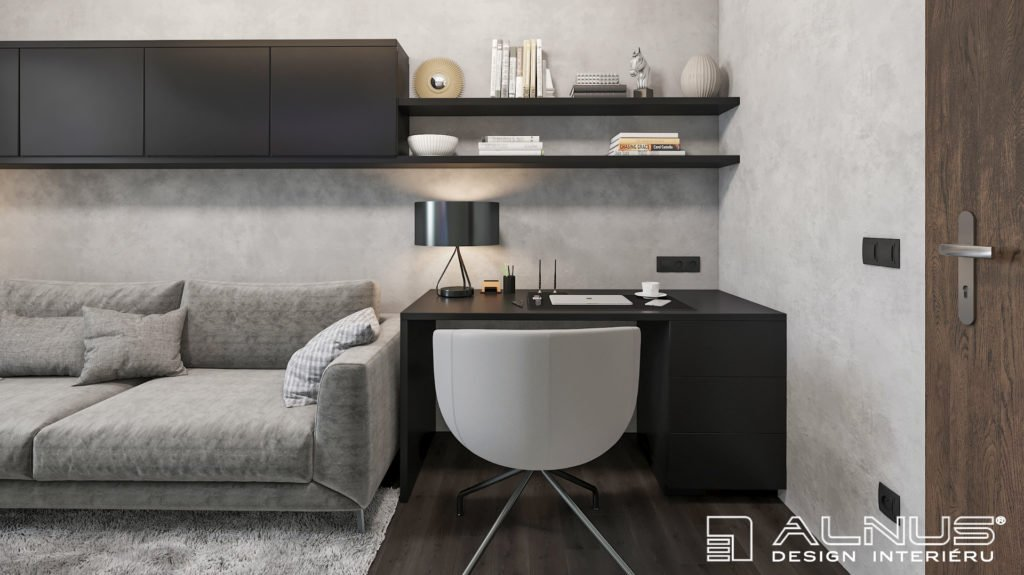 pracovna v malém interiéru bytu 3+kk