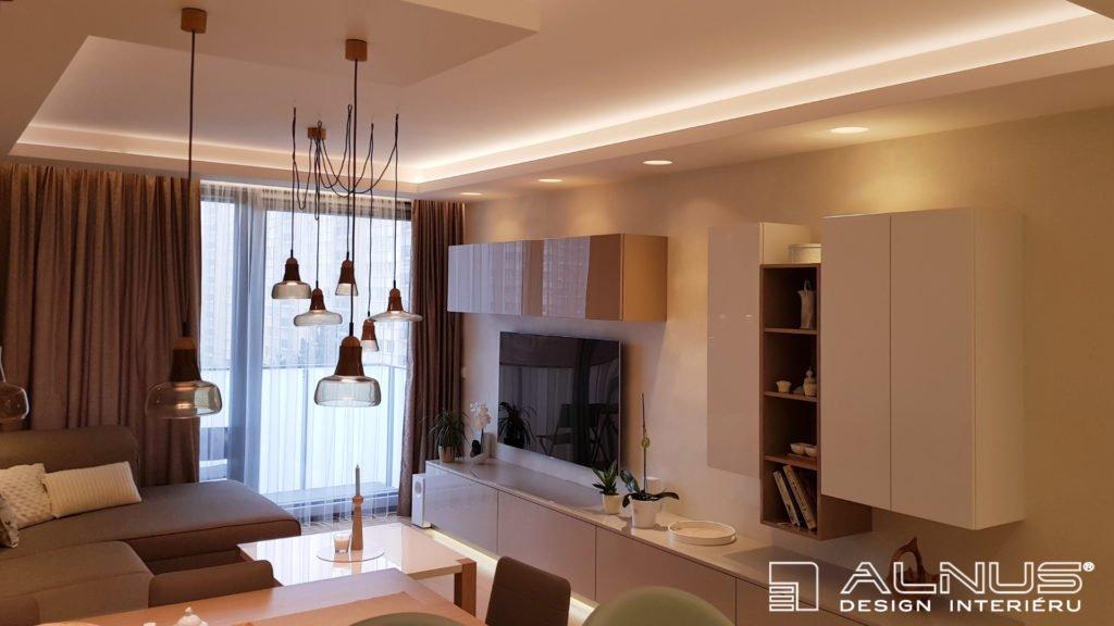 podsvícení stropu interiéru bytu 2+kk