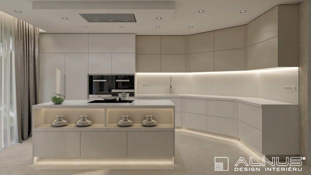 moderní kuchyně s ostrůvkem a podsvícením