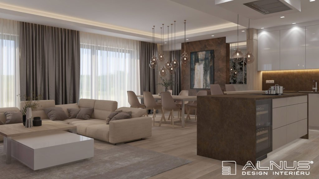 kuchyně s jídelnou a obývacím pokojem a stěrkou na stěně