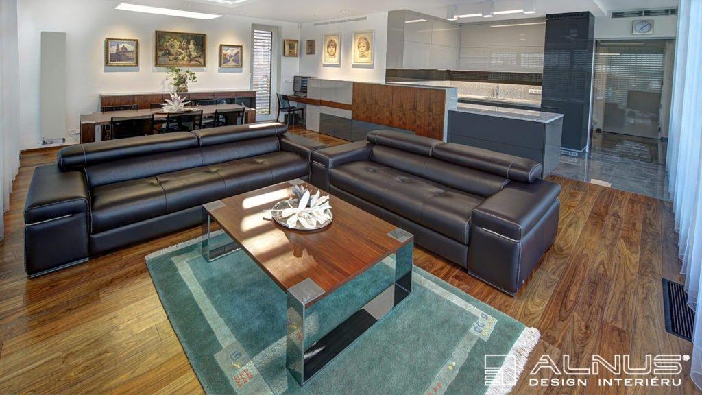 obývací pokoj s kuchyní a jídelnou v interiéru bytu 3+kk v praze