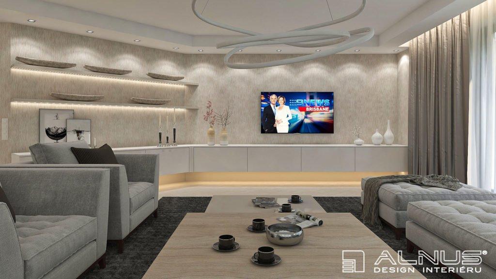 moderní obývací pokoj ve světlých barvách