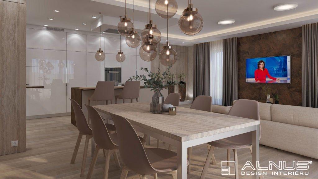 jídelna s kuchyní a obývákem