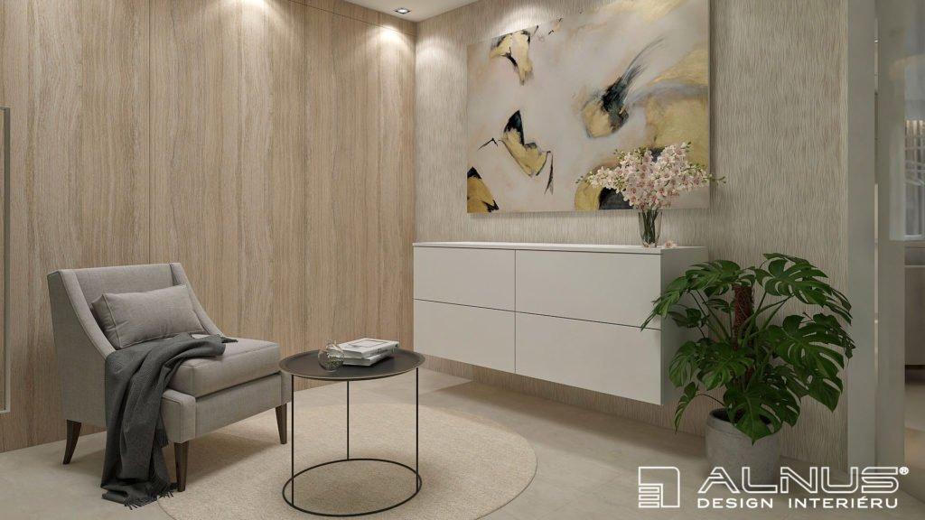 křesílko s komodou v moderním interiéru