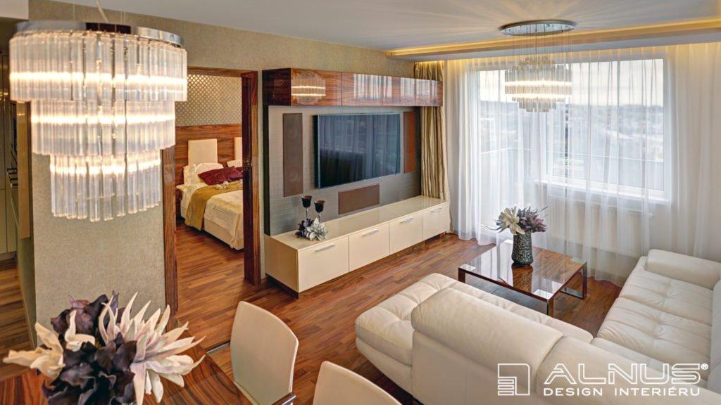 luxusní interiér obývacího pokoje bytu v praze