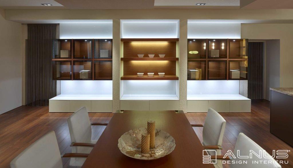 jídelna v moderním designu interiéru bytu