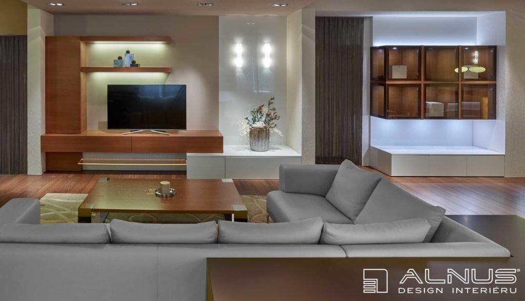 moderní obývací pokoj s tv stěnou