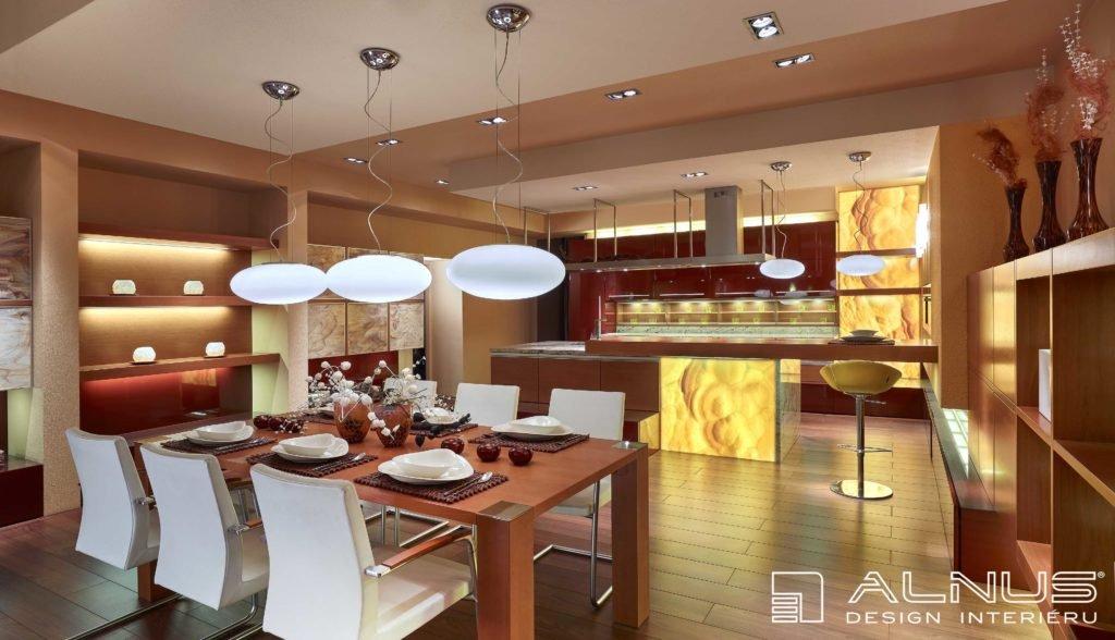 design kuchyně s barem a jídelnou