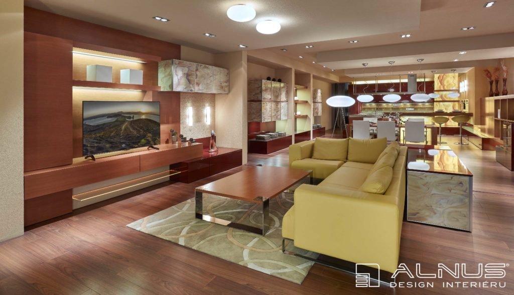 obývací pokoj s kuchyní a jídelnou v dubové dýze