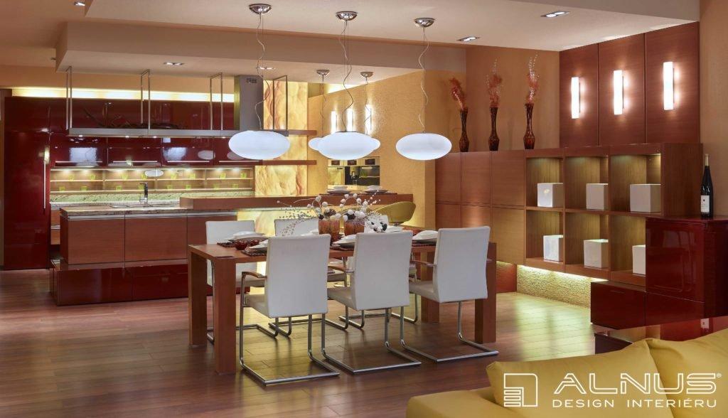 moderní kuchyně s barem a jídelnou