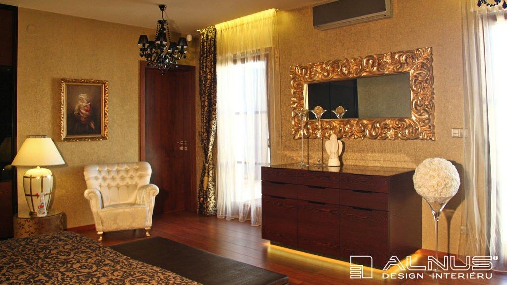 design komody s podsvícením v interiéru ložnice