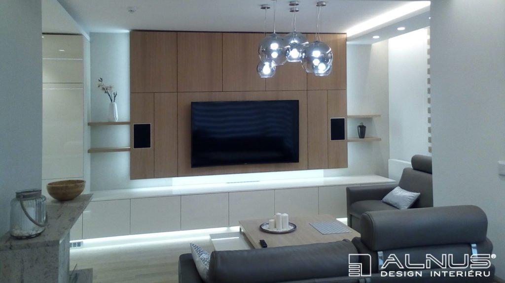 moderní obývací pokoj propojený s kuchyní