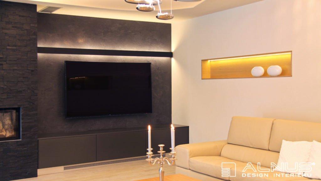 moderní obývací pokoj s krbem v šedé barvě