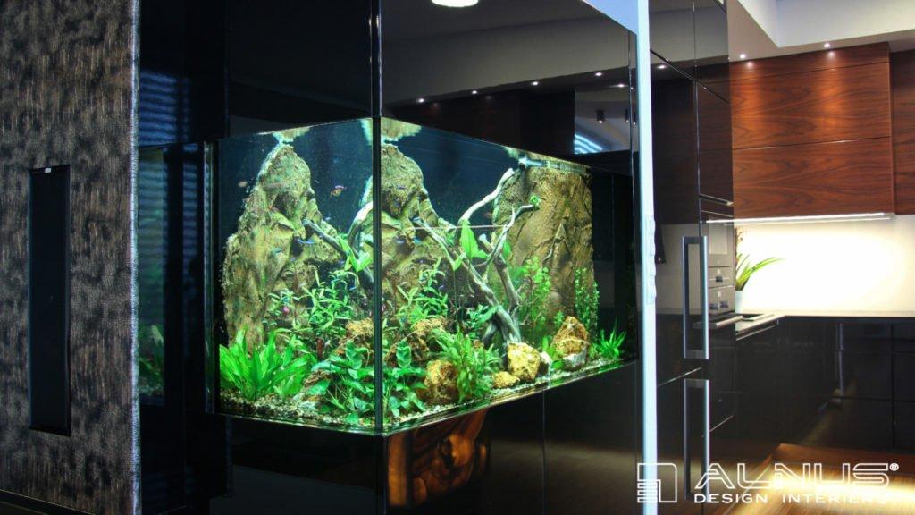 obývací stěna s akváriem