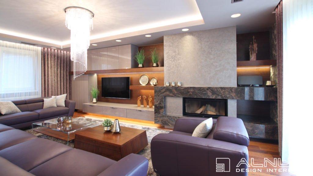 moderní obývací pokoj s krbem obložený žulou