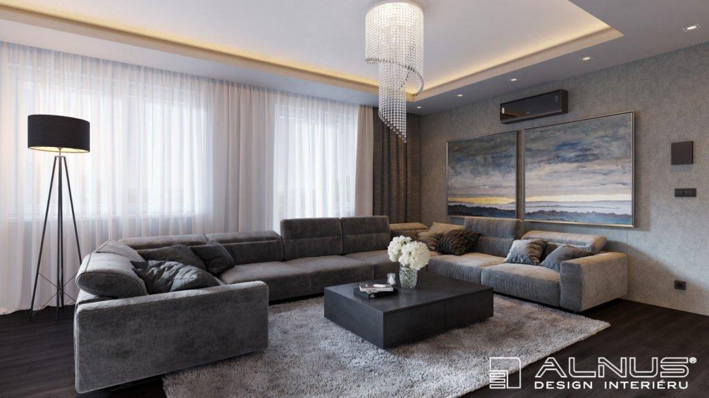 obývací pokoj v šedé barvě