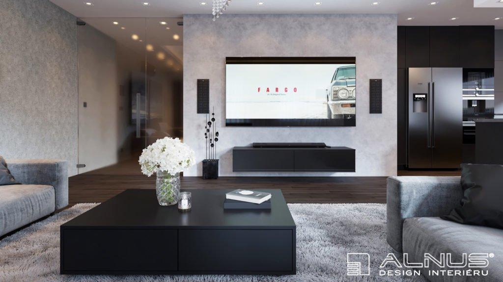 moderní obývací pokoj s tv a s kuchyní