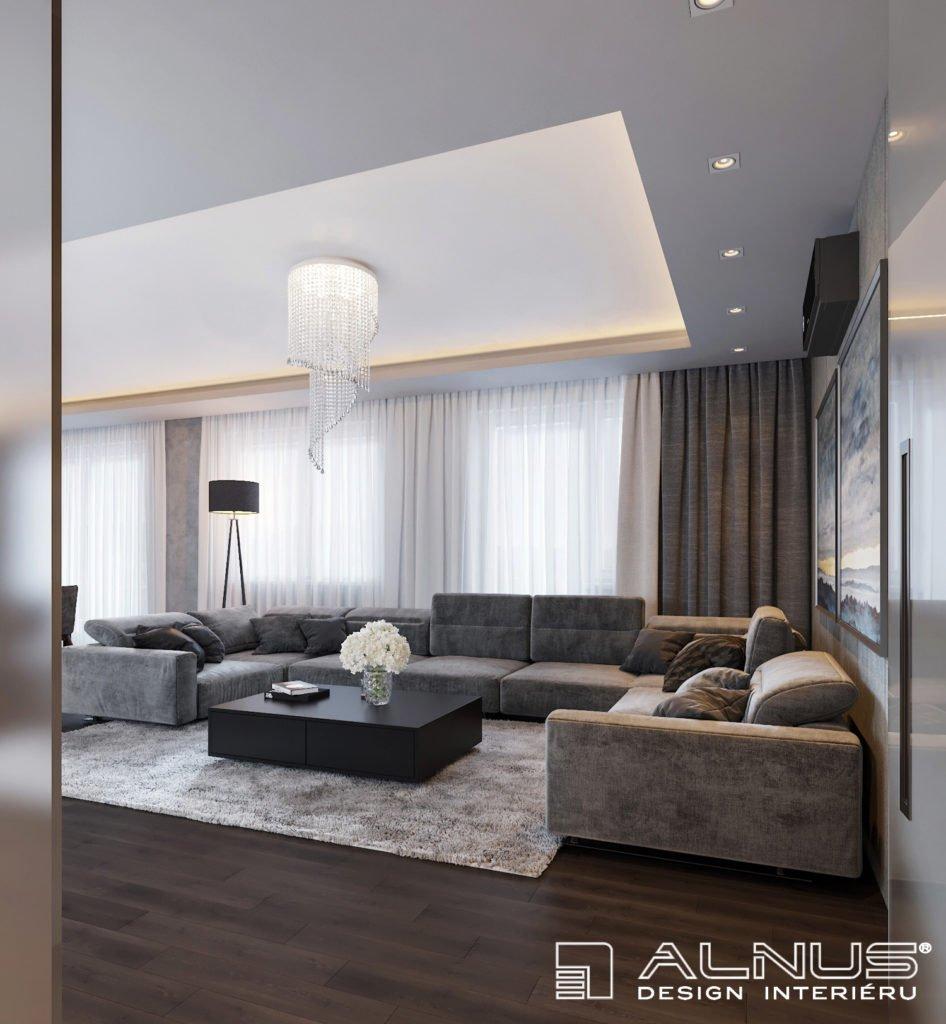 moderní obývací pokoj s podsvícením stropu v šedé barvě