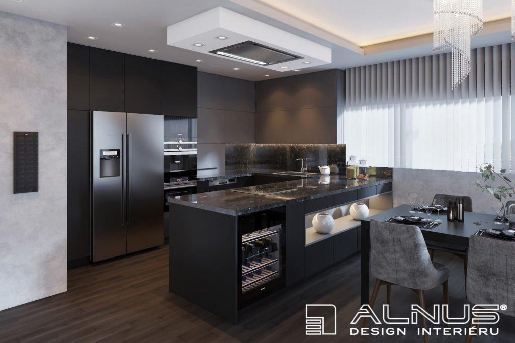 kuchyně s americkou lednicí v šedé barvě