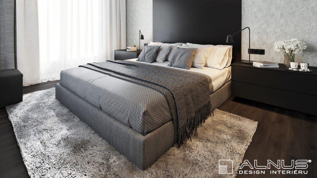 moderní ložnice s čalouněnou postelí v šedé barvě