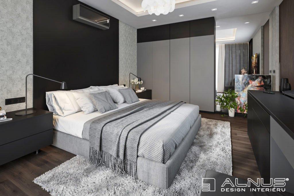 moderní ložnice s čalouněnou postelí v šedé barvě v interiéru bytu 3+kk