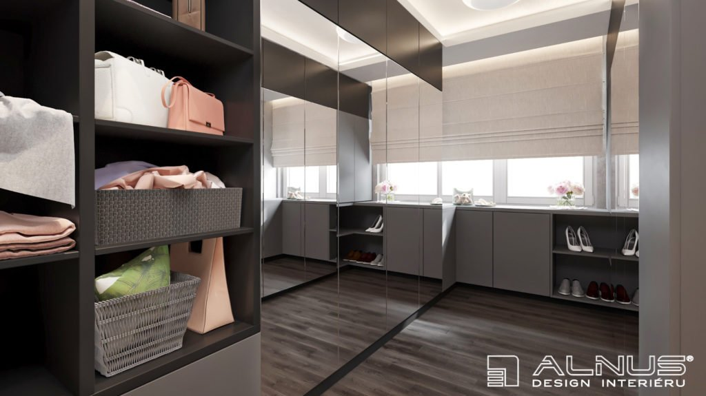 moderní šatna v interiéru bytu 3+kk v praze