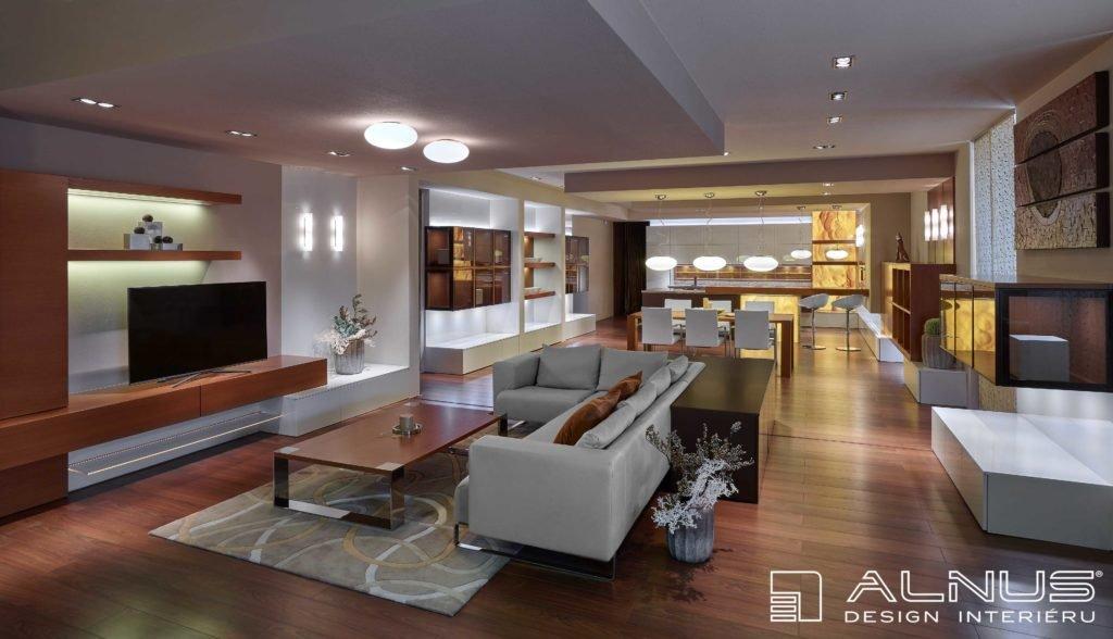 moderní kuchyně s obývacím pokojem