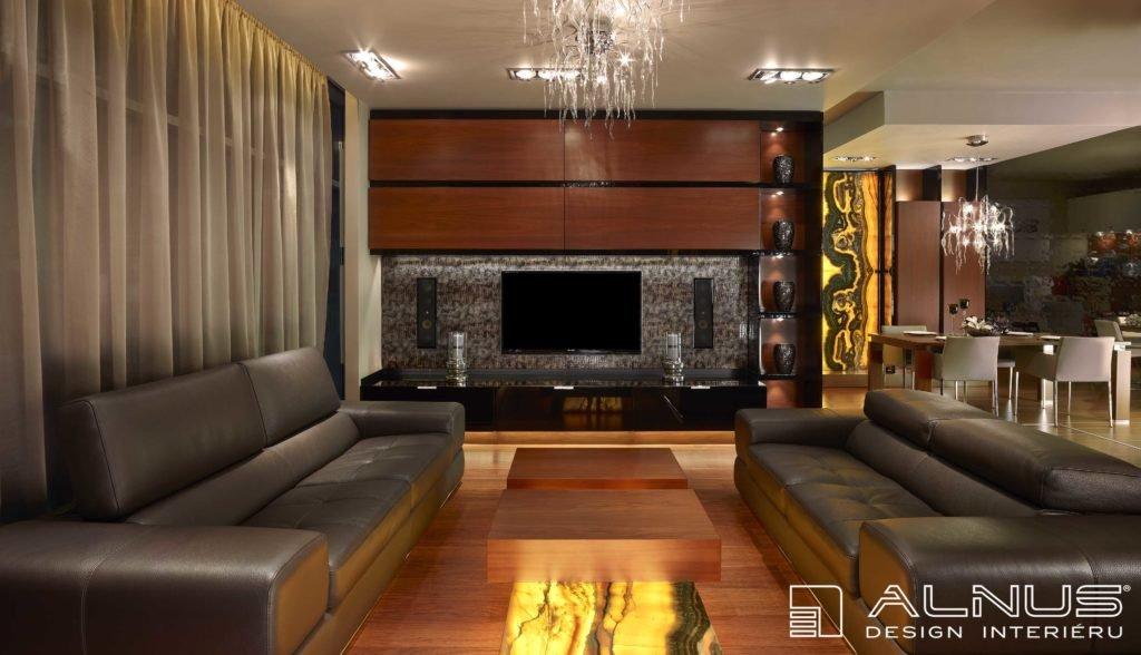 obývací stěna v moderním interiéru a vestavnými reproduktory