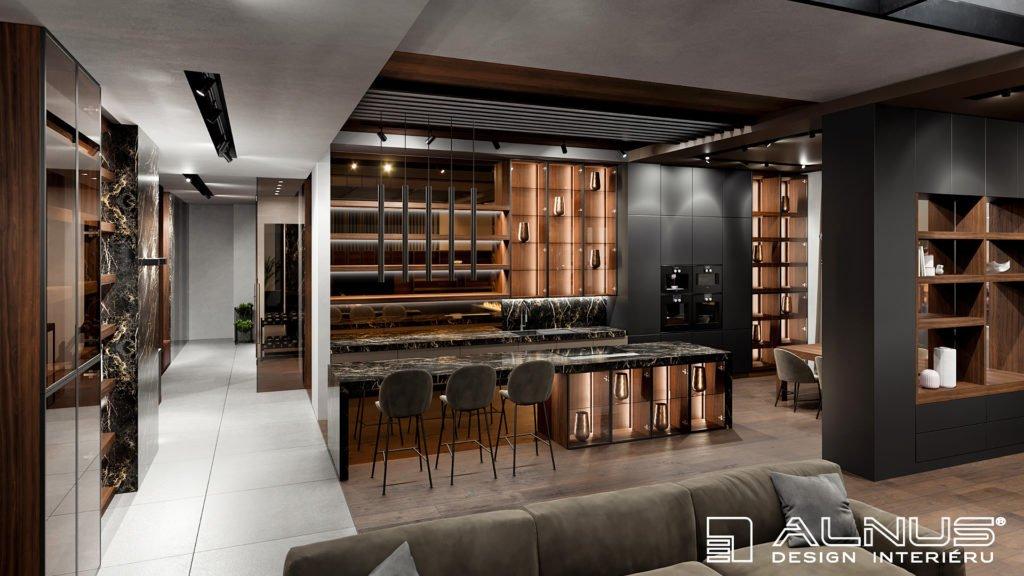 moderní kuchyně s obývacím pokojem v šedé barvě