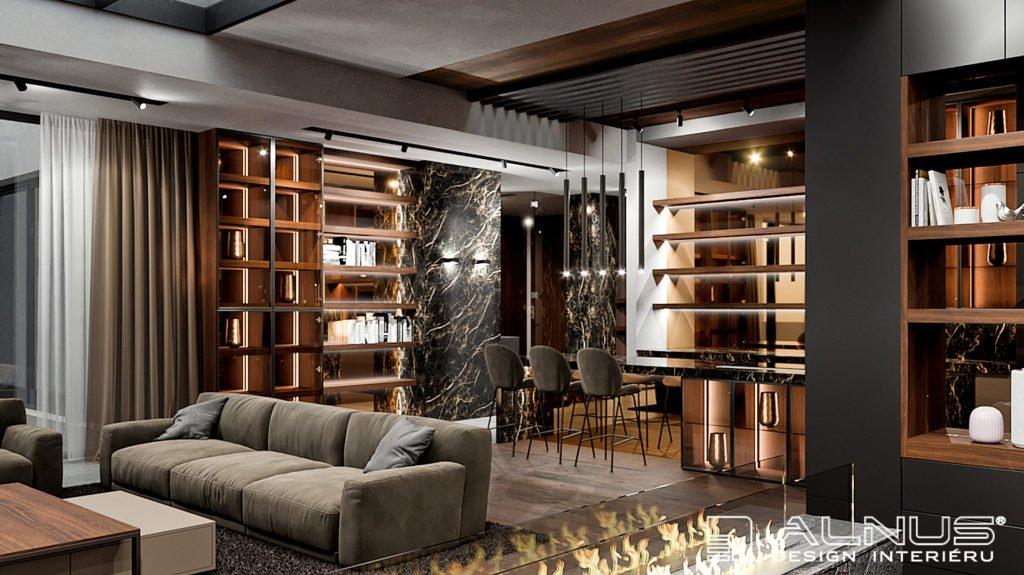 luxusní obývací pokoj s kuchyní a krbem