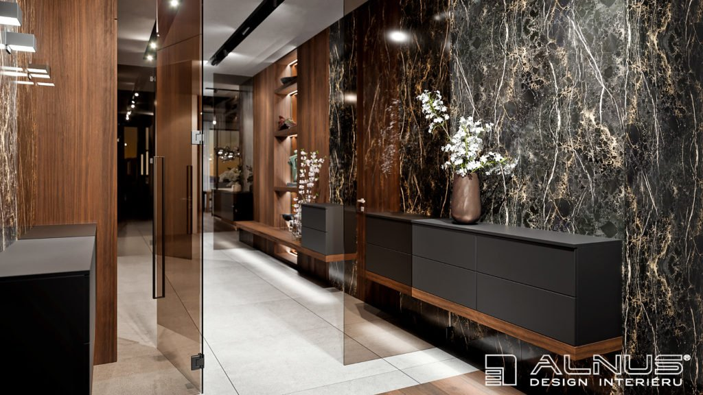 mramorový obklad v luxusním interiéru bytu