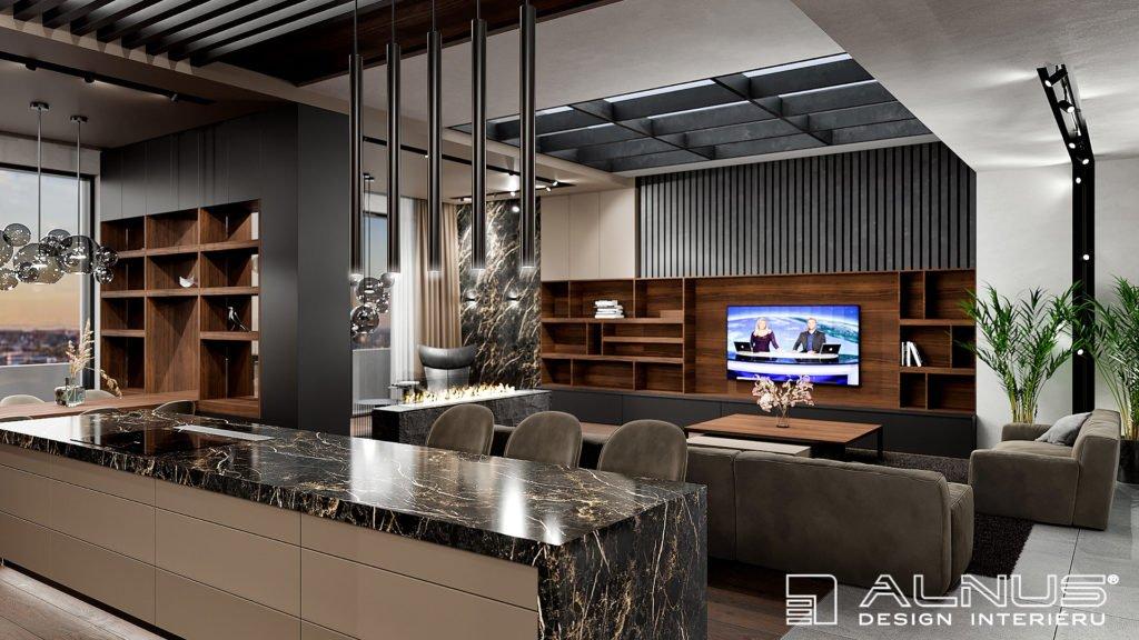 kuchyně s obývacím pokojem v interiéru bytu