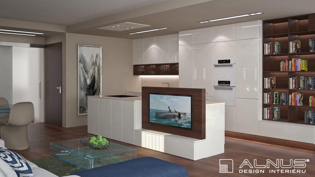 moderní kuchyně s integrovanou tv v ostrůvku