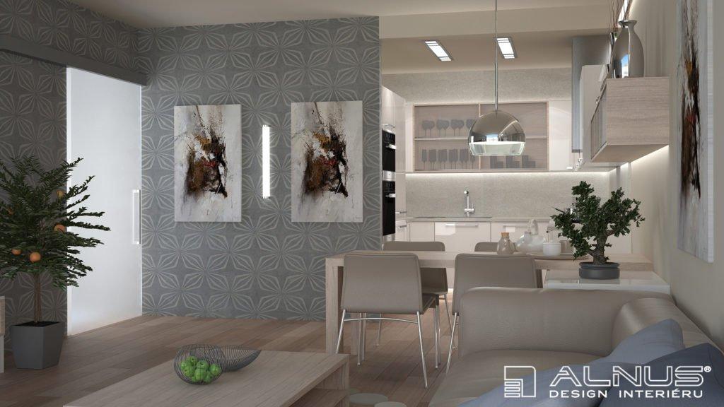 kuchyně s obývákem v malém bytě
