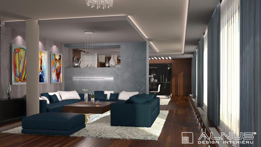 moderní obývací pokoj s kuchyní v interiéru bytu v praze