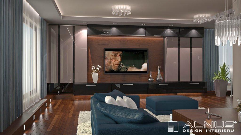obývací stěna v moderním interiéru bytu