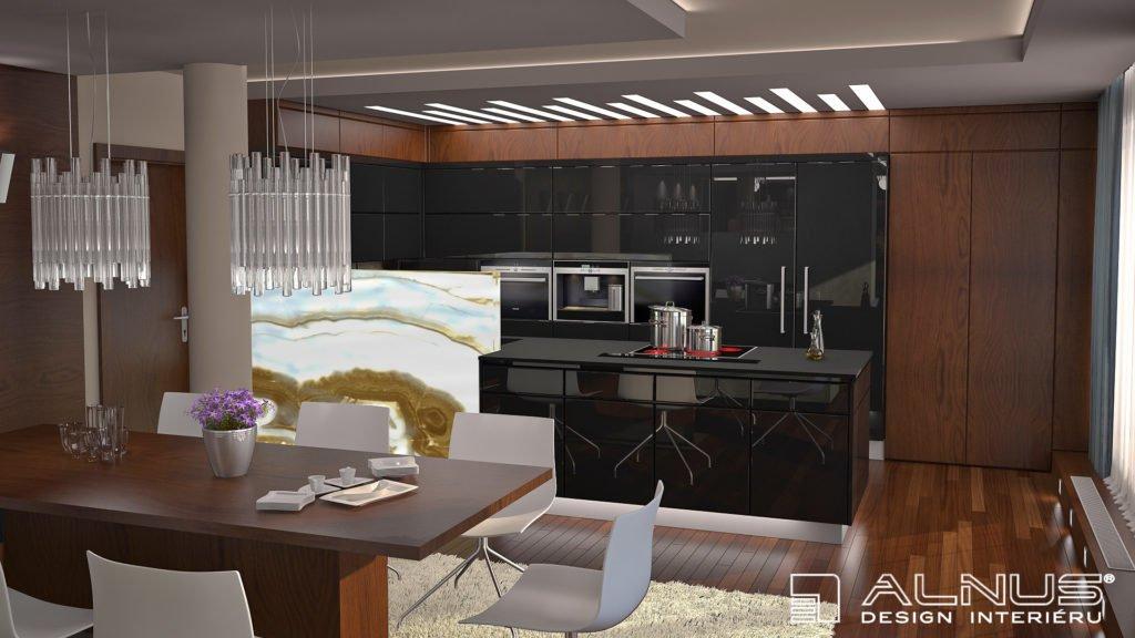 kuchyně s ostrůvkem a jídelním stolem na centrální podnoži