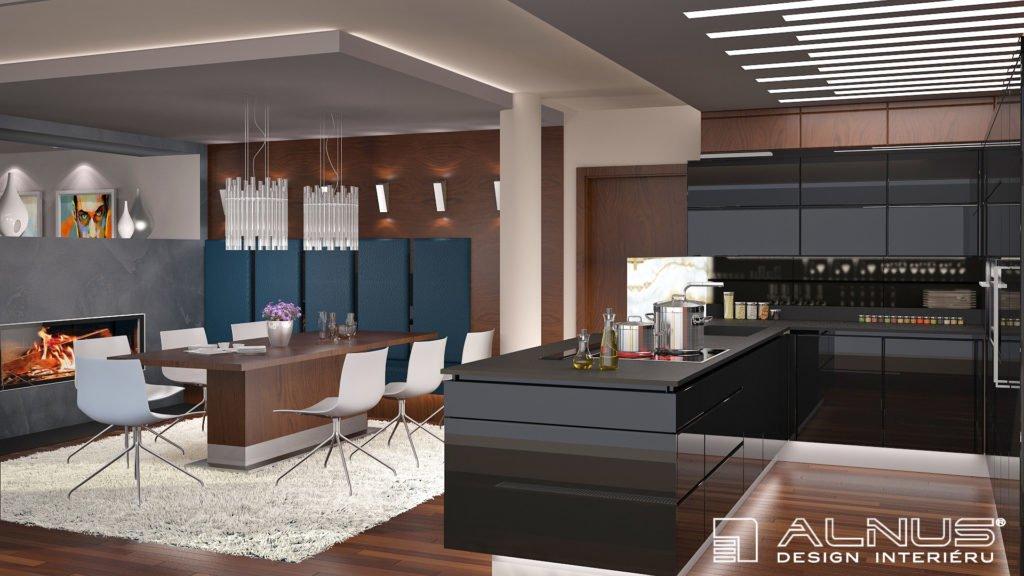 kuchyně s obývákem a krbem