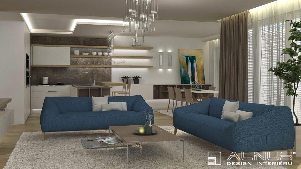 moderní obývací pokoj s jídelnou a kuchyní ve světlých barvách