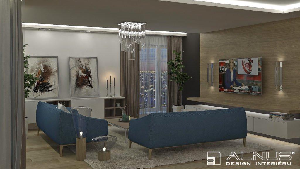 moderní obývací pokoj s podsvícením stropu