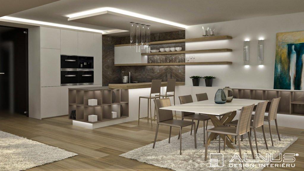 moderní kuchyně s barem a s jídelnou