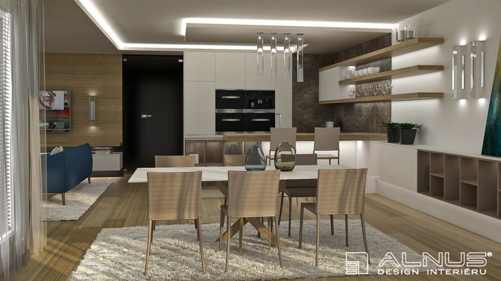 kuchyně s jídelnou a obývákem