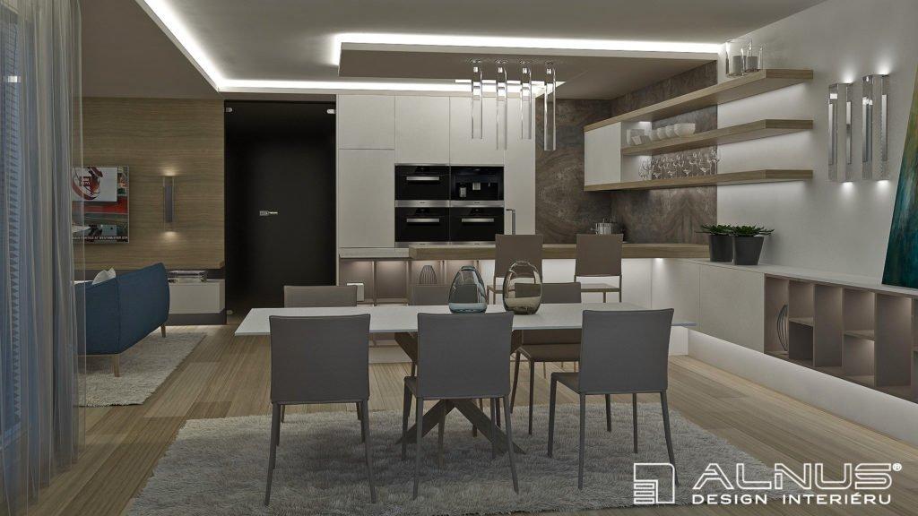 moderní kuchyně s jídelnou a obývákem