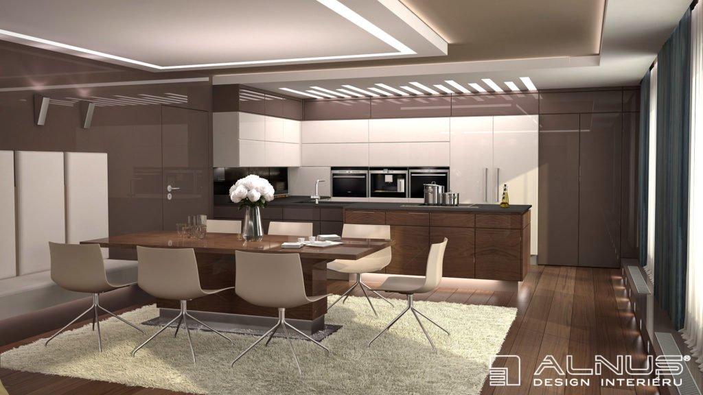 design kuchyně v interiéru bytu v Praze