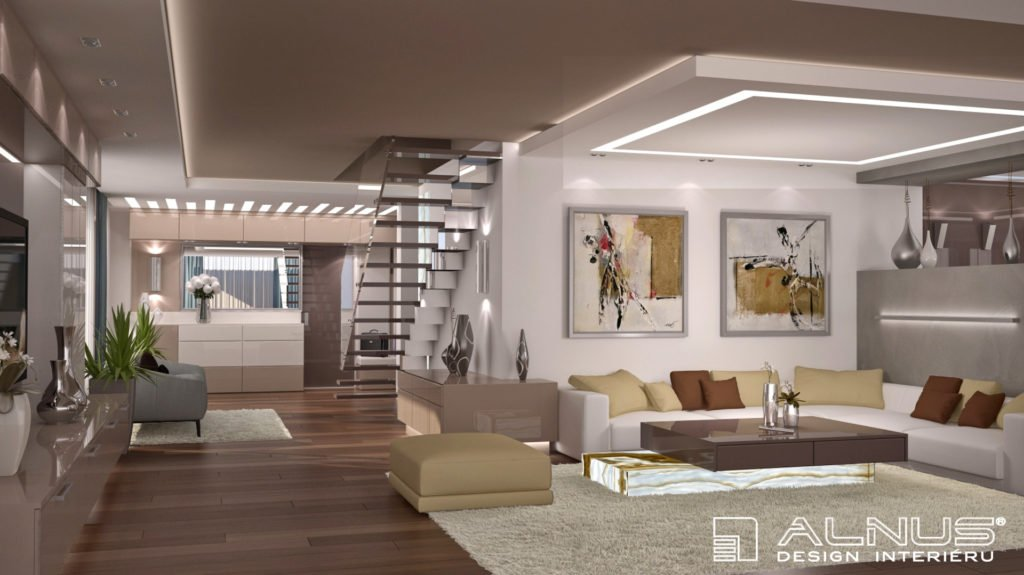 design interiéru mezonetového bytu v Praze