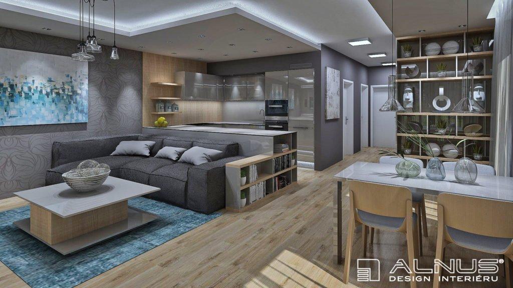 kuchyně s obývacím pokojem v šedé barvě a světlém dřevě